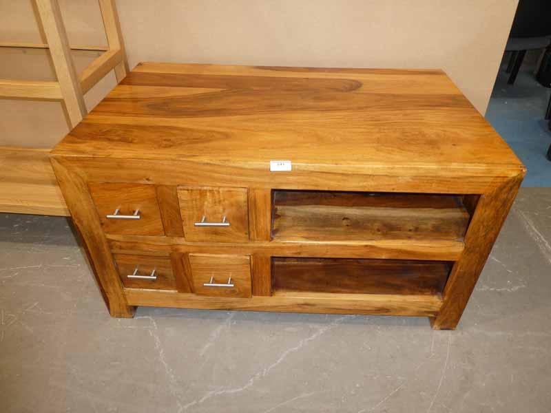 A modern hardwood media cabinet