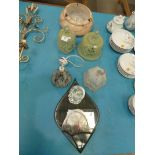 A mixed lot of early 20th Century glass including three Deco light shades, Cheese Bells, Lidded
