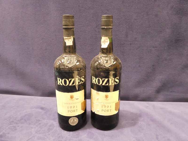 Two bottles of Roze's 1991 late bottled vintage port, 100cl 20% vol