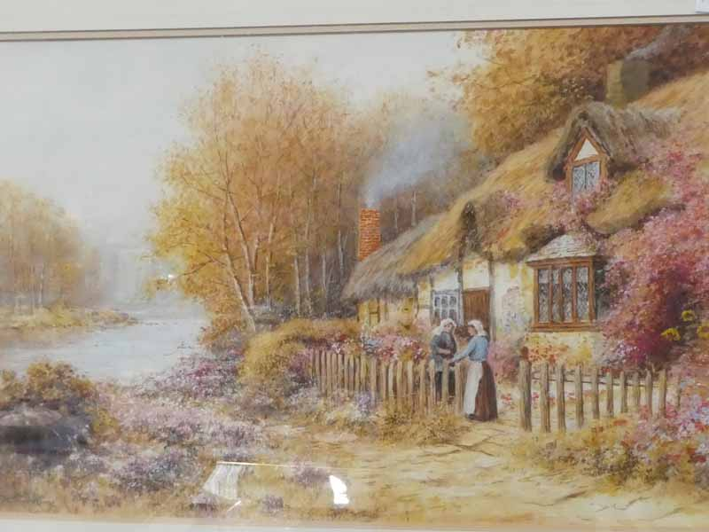 R Thornton, 19th Century thatched cottage with two women gossiping, signed watercolour