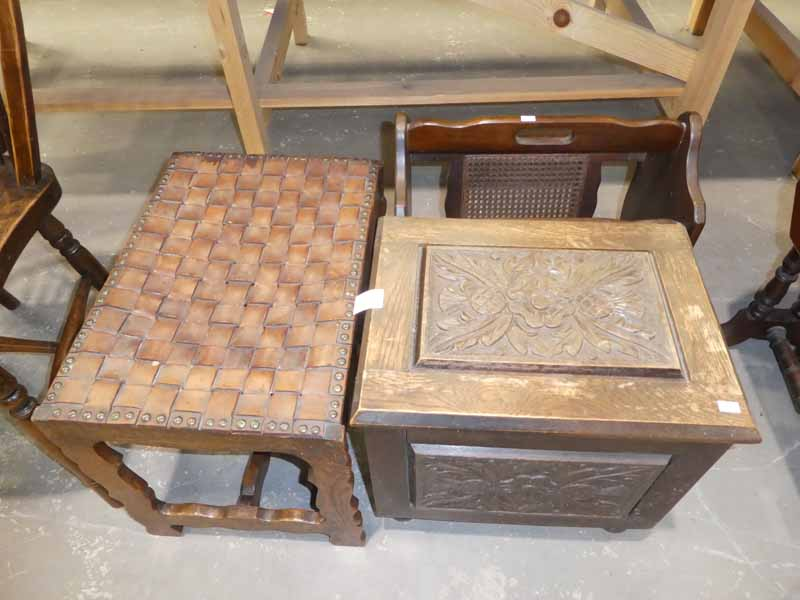 An oak box, magazine station and leather top footstool