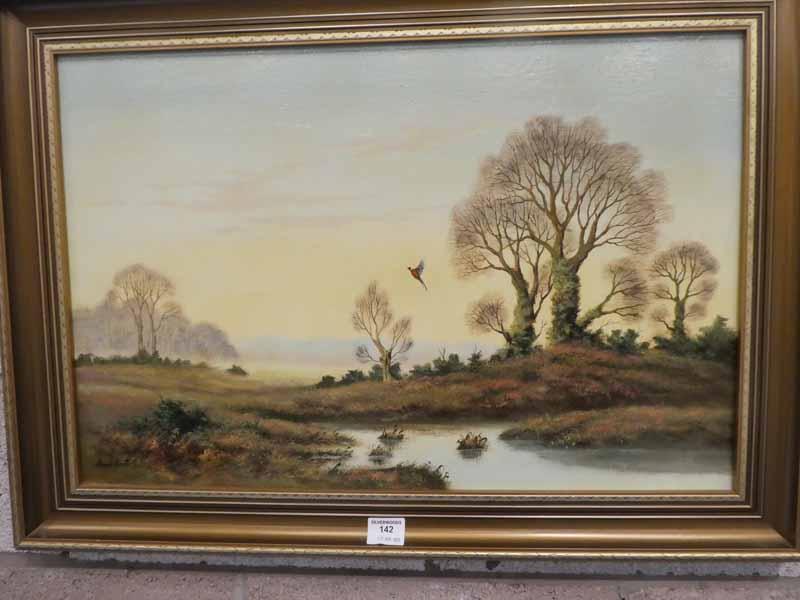 David Scott, winter heathland landscape with flying pheasant - signed oil on canvas