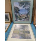 A modern framed Corot print and a similar Monet print