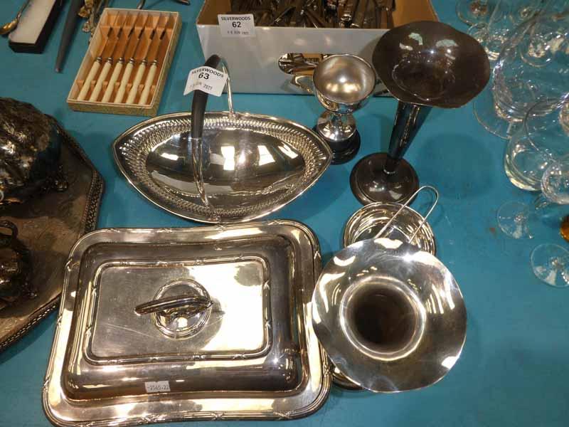 Seven items of silver plate including Elkington tureen, vases, quaich etc