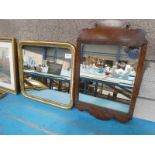 A Chippendale style walnut frame wall mirror and a gilt framed example