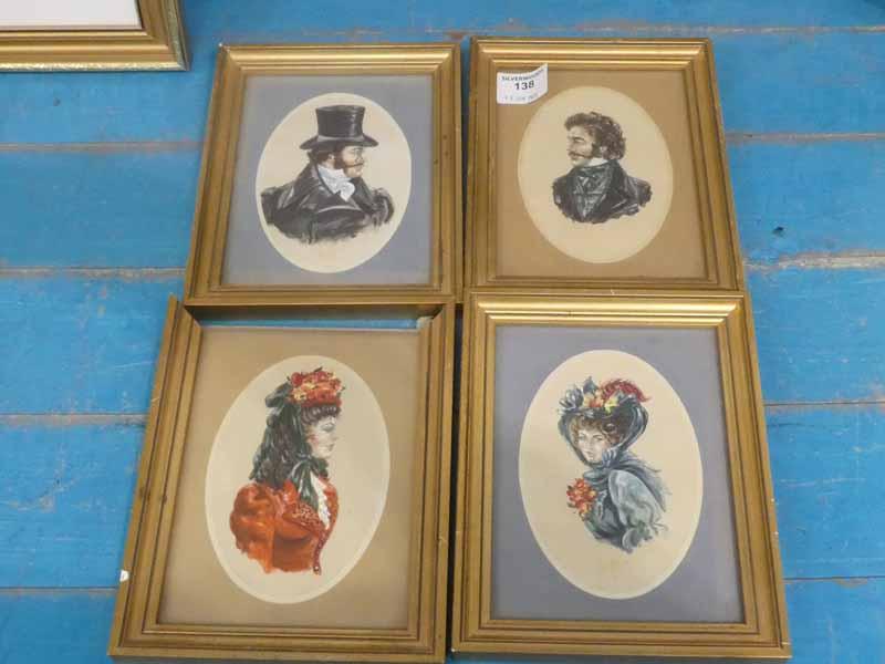 Four 19th Century style gouache small portraits framed