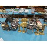 Approximately forty items of metalware, brass, pewter, silver plate