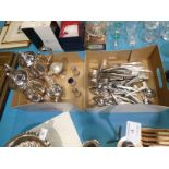 A collection of silver plated ware including a pedigree cutlery four piece coffee service