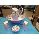 A Crown Devon Fiieldings Nile pattern 5 piece dressing table set
