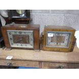 Two art deco walnut cased mantle clocks one with British anvil movement