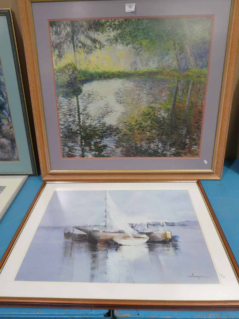 A modern framed print Monet, and another fishing boat scene