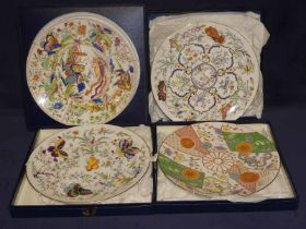 A set of five Royal Worcester chinoiserie limited edition cabinet plates and a Swedish blue &
