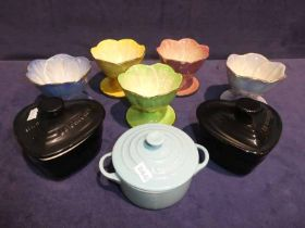 Five Maling sundae dishes and three Le Creuset small lidded dishes