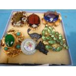 Six vintage costume Brooches, Black Cat Pin and Black Cat Charm