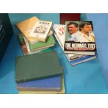 A box of books, cricket related, early to late 20th Century