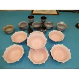 7 pink blancmange dishes, 5 studio glazed bowls, 3 lustre pieces and an onion glass vase