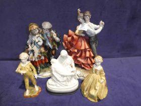 Capo di Monte flamenco dancers, boy & girl, resin Michaelangelo pieta and two Royal Worcester