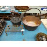 A copper preserve pan, copper kettle & brass trivet