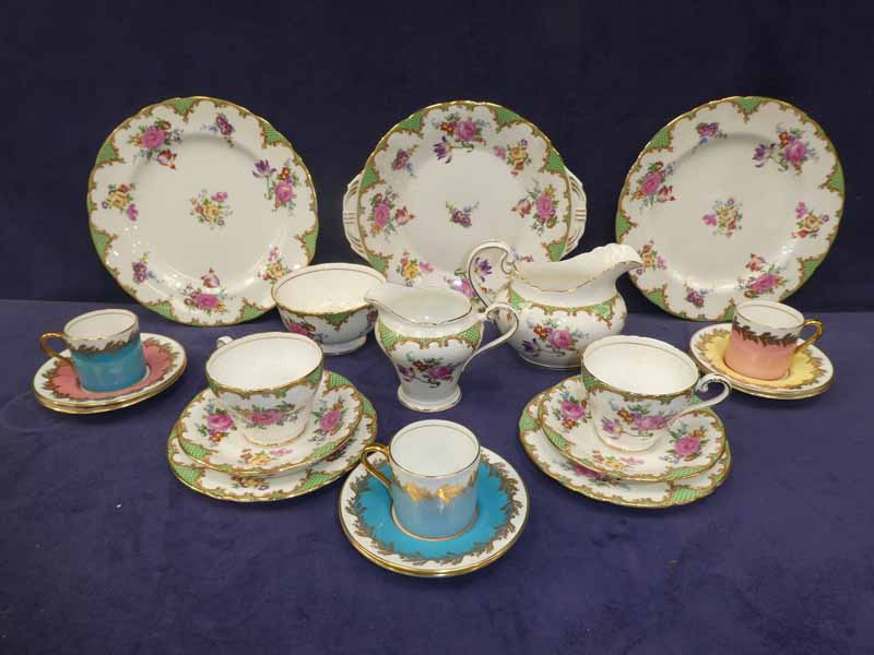 An Aynsley forty two piece B971 tea service for twelve and a set of Aynsley C1788 coffee cans &
