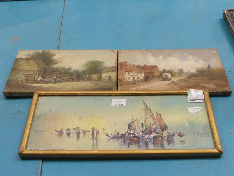A pair of unframed 19th century Oils on Canvas depicting Southern Counties Urban and Rural Street