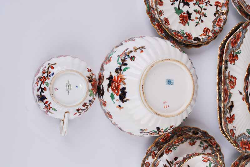 A Copeland Spode porcelain Imari eight setting tea set of ribbed form comprising eight cups, saucers - Image 3 of 5