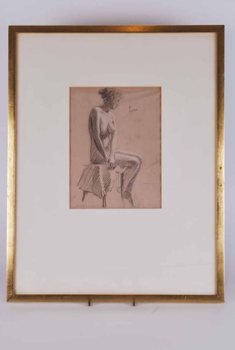 Follower of Augustus John O.M., R.A (British, 1878-1961) Female Nude signed 'John' (top right), - Image 2 of 3