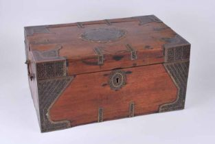 A 19th Century Indian rosewood dowri chest with Bidriware strap work, corner braces and paterae