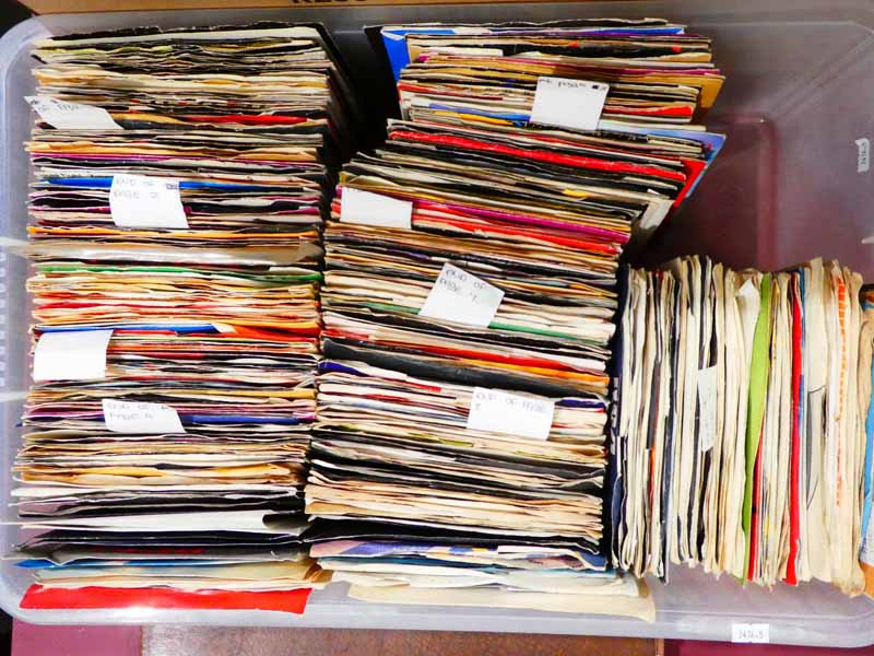 A large collection of rare 1960's and later seven inch vinyl singles, complete with covers (500+)