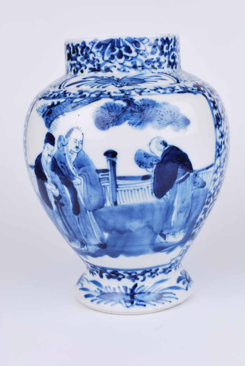 19th Century Chinese porcelain obovoid vase with figural panels to a foliate arabesque ground - Image 2 of 4