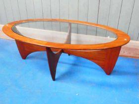 A 1970's eliptical G Plan 'Astro' coffee table 122.5cm x 66cm x 42cm