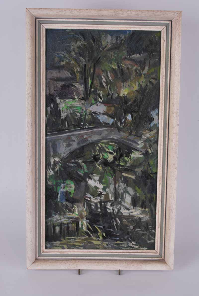 Daivd Wild Bridge and Trees artists name and address verso, oil on board 43.5 x 22.5cm - Image 3 of 3