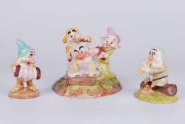 Three Royal Doulton disney characters 'Grumpy's Bathtime', 'Sleepy' & 'Bashful's Melody'.