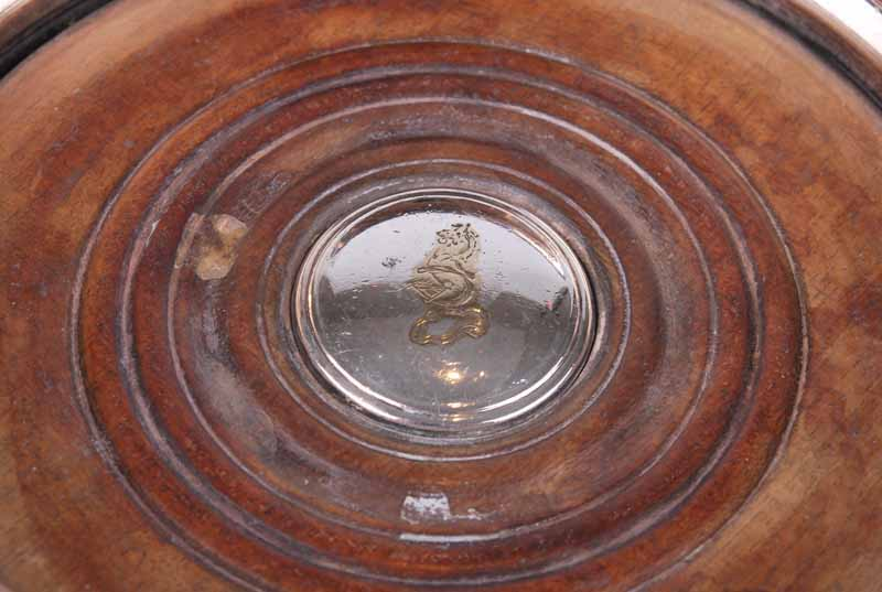 A 19th century bottle coaster with serpentine edge, cedar base and white metal crested button; - Image 4 of 4