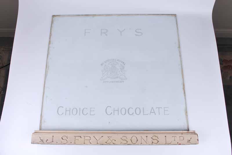 J S Fry & Sons Ltd original etched glass display cabinet panel & lower rail 59.5 x 63.5