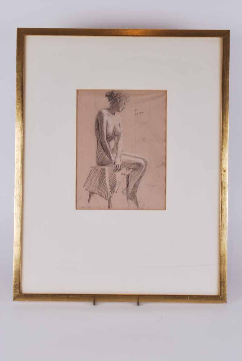 Follower of Augustus John O.M., R.A (British, 1878-1961) Female Nude signed 'John' (top right),