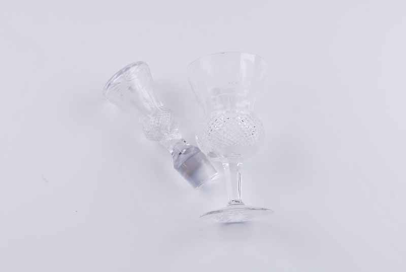 Two Edinburgh Crystal 'Thistle' pattern claret jugs, of thistle bud form with diamond pattern - Image 5 of 7