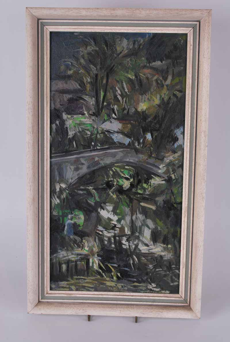 Daivd Wild Bridge and Trees artists name and address verso, oil on board 43.5 x 22.5cm