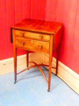 A George III mahogany narrow Pembroke table, with two graduated drawers surmounting square