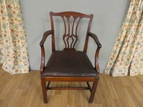 18th Century mahogany carver dining/library chair leather covered drop in seat