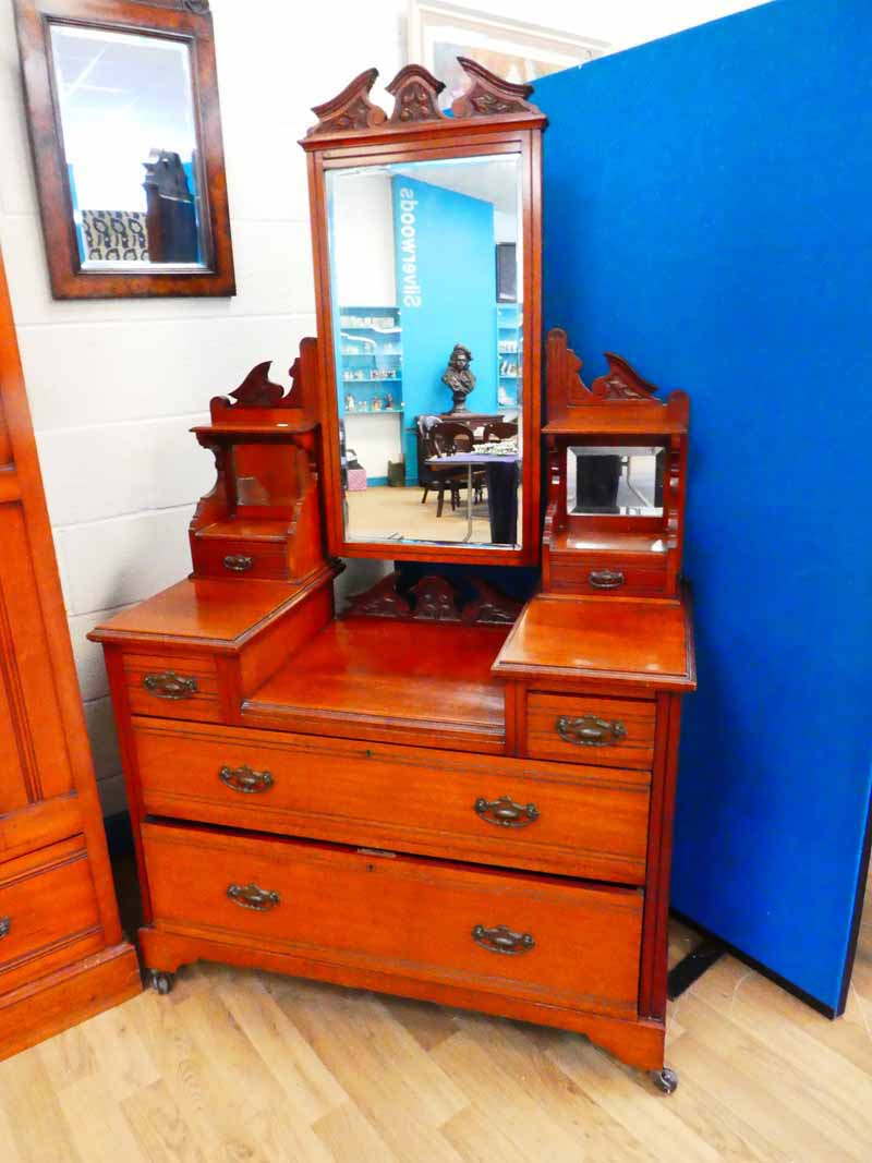 An Edwardian matching dressing chest and marble top washstand with tile back plus associated similar - Image 2 of 4