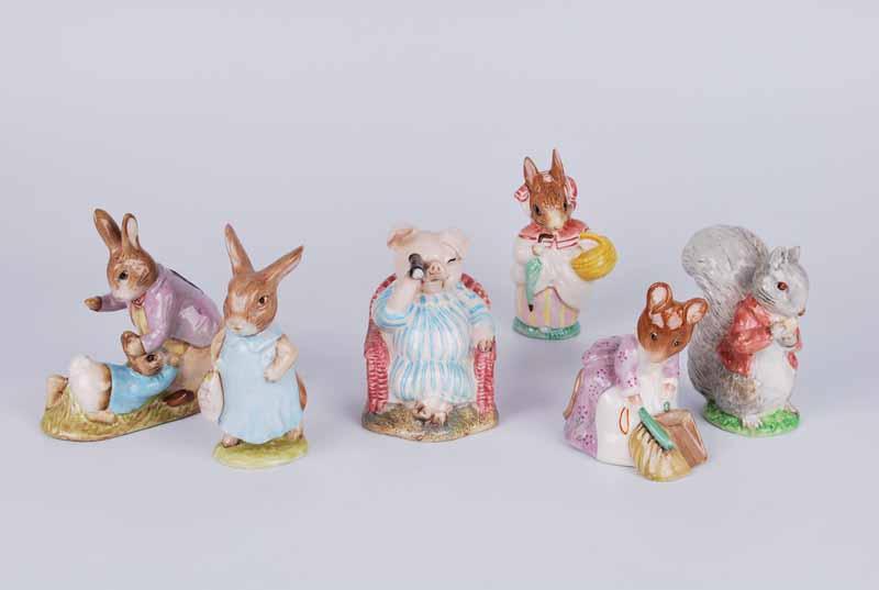 Six Beswick Beatrix Potter figures, mainly BP3