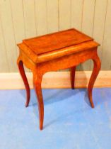 A Victorian Walnut marquetry planter, the tin lined interior, lifting out on twin handles can be