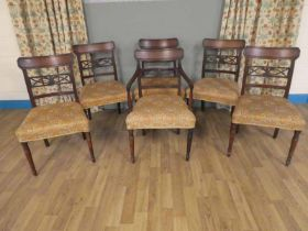 Set of six Regency mahogany dining chairs, five chairs one carver with Prince of Wales feathers to