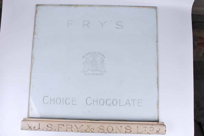 J S Fry & Sons Ltd original etched glass display cabinet panel & lower rail 59.5 x 63.5 - Image 2 of 2