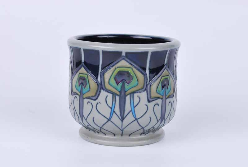 A Moorcroft small footed planter in the Peacock Parade pattern by Nicola Slaney, dated 2012 to the - Image 2 of 2