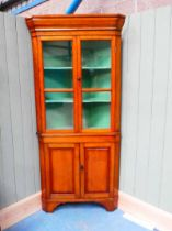 Fruitwood full length corner cupboard with shaped shelves 207cm H