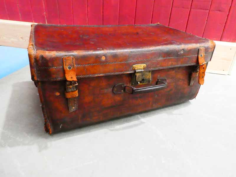 An early 20th Century large leather suitcase marked ODBV to the lid and remnants of steamer labels - Image 2 of 2