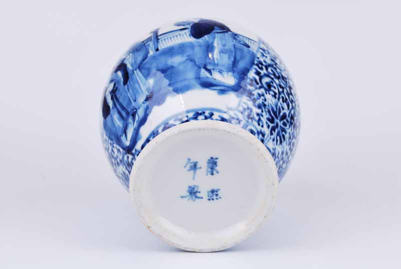 19th Century Chinese porcelain obovoid vase with figural panels to a foliate arabesque ground - Image 3 of 4