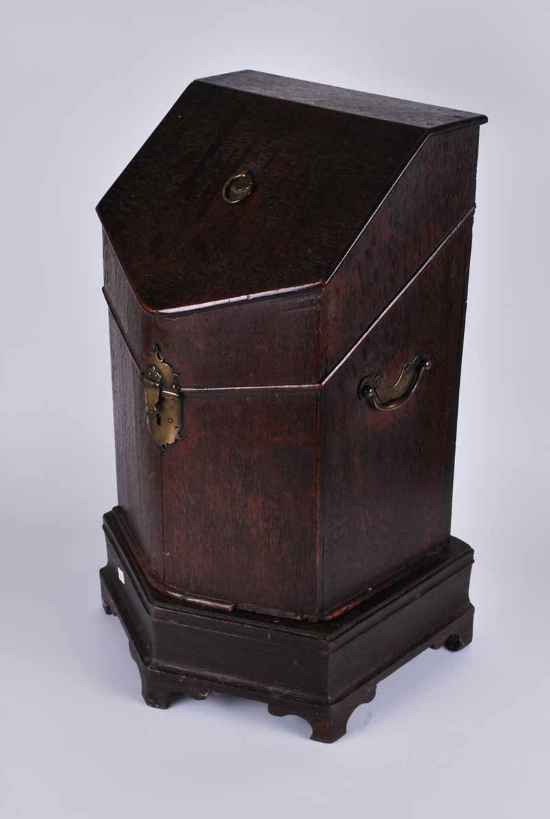 An early George III oak knife box on stand (interior missing) 52cm H