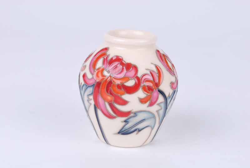 A Moorcroft miniature Chrsanthemum vase representing November in the Floral Months series from - Image 2 of 4